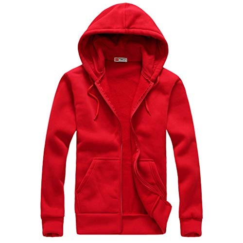 Price comparison product image ANJUNIE Men Warm Hooded Jacket Simple Hoodies Outdoor Cardigan Sweater Top Outwear Coat(Red