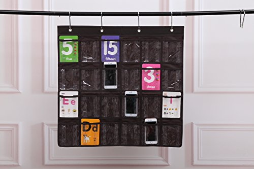 Spacehome@ 24-Pocket Classroom Pocket Chart Cellphone Pocket Chart Holder Wall Door Hanging Organizer CPC-5 (coffee)