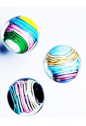 新しいRare 3 curlicus 16 mmハンドメイドアートガラスビー玉クリアブルーイエローボール B079R925MS