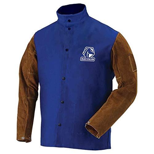 "Black Stallion Hybrid 9 Ounce FR and Cowhide Welding Coat  30"" Royal Blue/Brown 3XL"