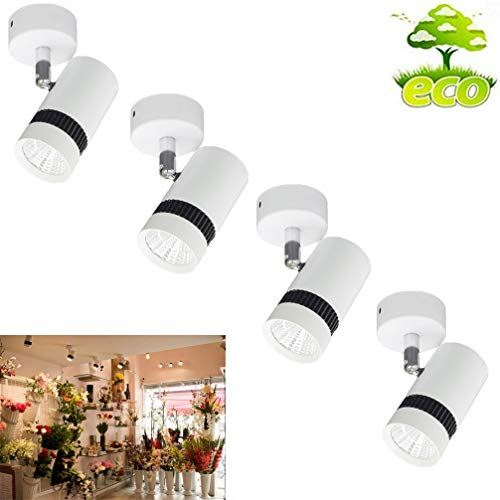 LED Ceiling Spotlights,7W Adjustable LED Indoor Spot Light, Not Dimmable, Not Battery Powered, Hard Wiring in AC 86-265V for showcases,Bookshelves,Mural,Billboard,Cabinet Display (4 Pack Daylight)