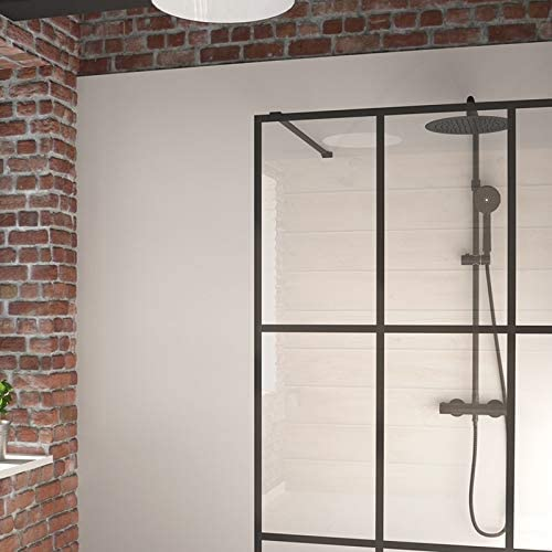 Mampara de Ducha Fija Single Black en Vidrio templado de 8 mm Serigrafiado, Transparente: Amazon.es: Hogar