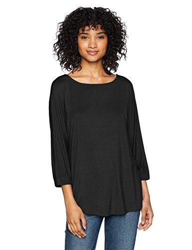 Amazon Brand - Daily Ritual Women's Jersey Bunch-Sleeve Top, black, Small