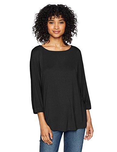 Sleeve Drape Jersey Top Black (Daily Ritual Women's Jersey Bunch-Sleeve Top, Black X-Small)