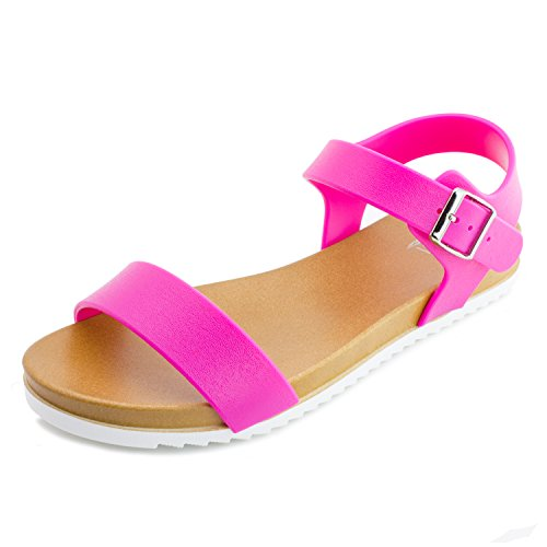 Kali Womens Open Toe Gladiator Gold Strap Flat Sandals, Womens, Hot Pink 2, 8 M US Women - Pink Strap Sandals