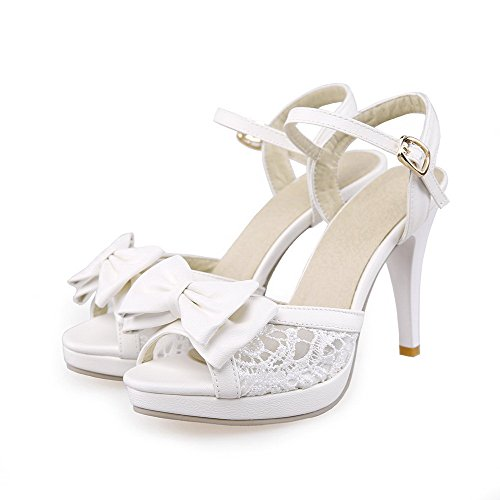 AllhqFashion Womens Solid PU High-Heels Peep Toe Buckle Heeled-Sandals White YAcdWJIQT