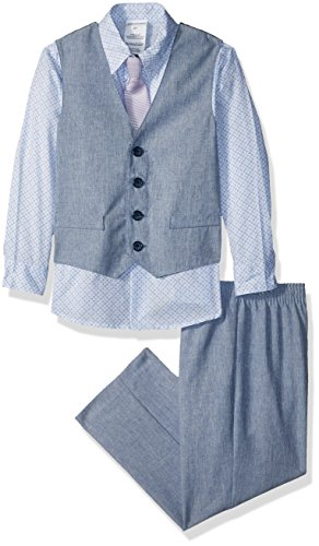 Van Heusen Boys' Toddler 4-Piece Formal Suit Vest Set, Linen Blue Hydrangea, 4T (Linen Suit For Toddlers)