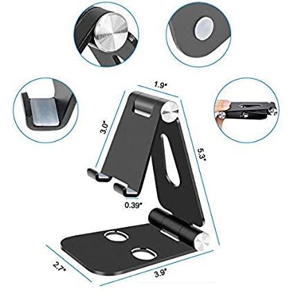 Universal 270 Degree Multi-Angle Rotatable Aluminum Alloy Stand Holder Desktop Cradle Adjustable Desktop Cell Phone Stand Foldable Silver Dock for iPhone,All Android Smartphone