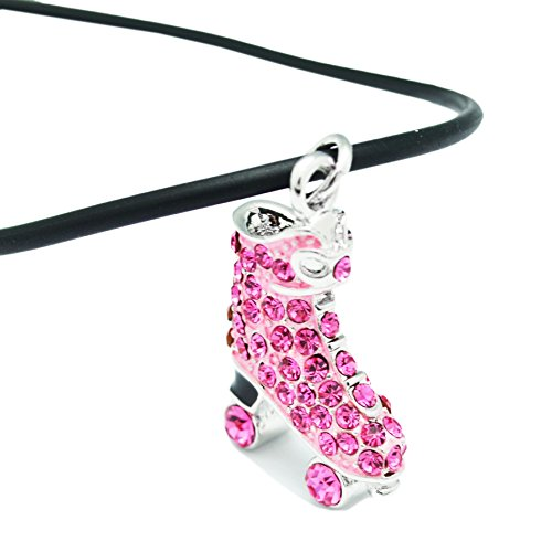 Boosin Kids Girls Pink & Silvertone Two Sided Skating Pave Ice Skate Pendant Necklace (Pink)