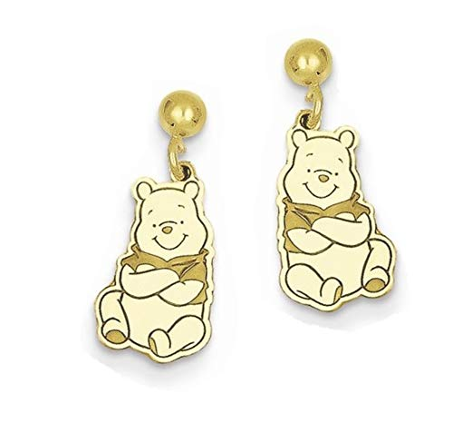 Roy Rose Jewelry Roy Rose Jewelry Gold-plated Sterling Silver Winnie the Pooh Dangle Post Earrings Trademark and Licensed