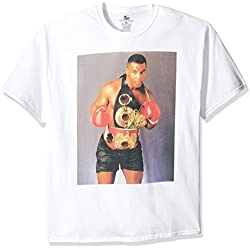 Boxing Hall of Fame Men's Mike Tyson with Championship Belt T-Shirt, White, X-Large