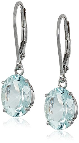 Sterling Silver Oval Aquamarine Dangle Earrings
