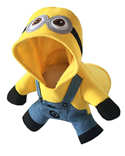 Aifang Halloween Pet Dog Puppy Costume Minion Despicable Me Cartoon Costume Coat Jacket Cosplay Clothes Outfit Apparel 2XL (Minion Cat Costume)