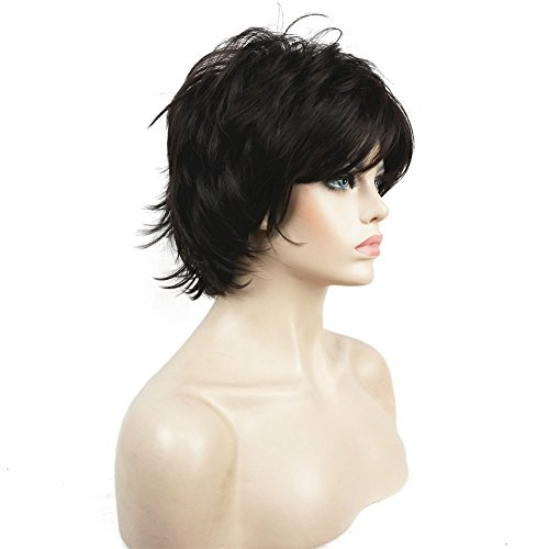 Lydell Short Layered Shaggy Full Synthetic Wig Wigs #4 Dark Brown Looks Wig
