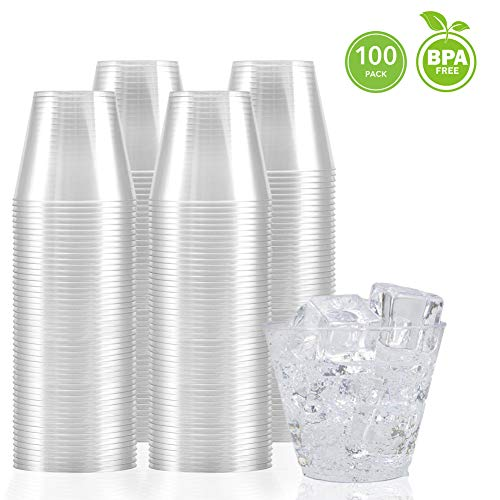 Clear Disposable Cups - 9 Ounce Clear Plastic Cups (100 Count) Disposable Party Cups - Old Fashioned Reusable Plastic Tumblers