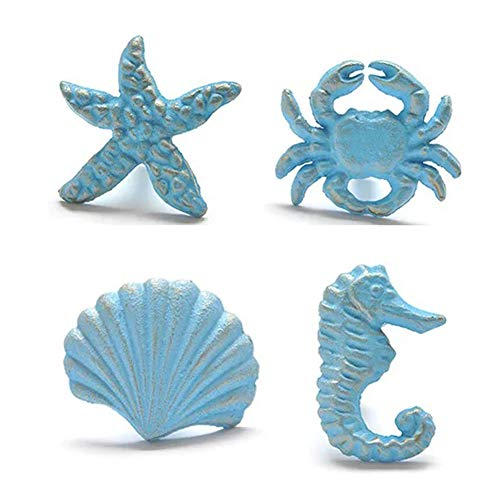 Lemonadeus Unique Coastal Sea Life Starfish,Crab,Seahorse,Shell, Cast Iron Knobs Drawer Pulls, Drawer Handle(Set of 4)