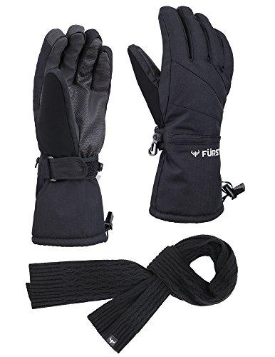 (FURST Women's Storm Touchscreen Winter Ski Gloves + Scarf Set, Pocket, Thinsulate, Waterproof, Black, L)