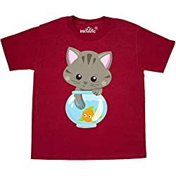 inktastic - Kitty and The Fish Bowl, Youth T-Shirt Youth Small (6-8) Red 35a84