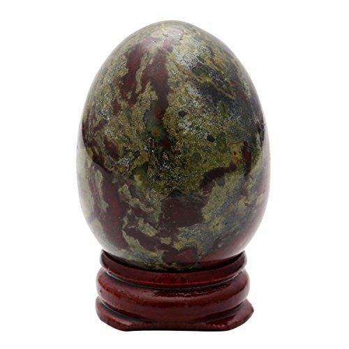 QGEM Easter Eggs Decorations~Natural Dragon Blood Jasper Egg Shape Statue on Wood Stand Pocket Figurine Ornaments