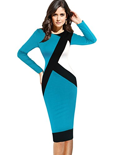 Vfemage Womens Elegant Optical Illusion Contrast Wear to Work
