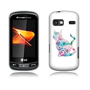 FINCIBO (TM) Protector Cover Case Snap On Hard Plastic Front And Back For LG Rumor Reflex LN272 Xpression C395 - Freedom Cat