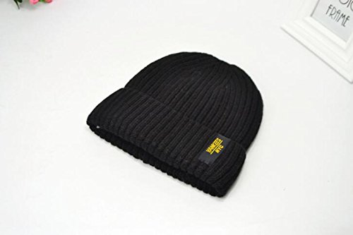 Oryer Mens Baggy Winter Knitting Skull Cap Wool Warm Slouchy Beanie Hat - Black