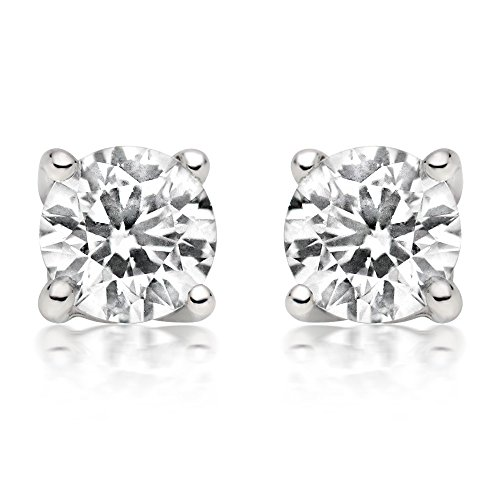 1/4ct tw Diamond Stud Earring in 14k White Gold - Solitaire Earrings Gold Diamond