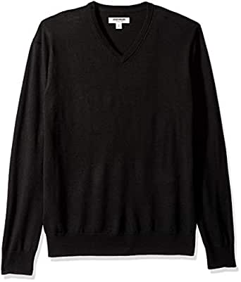 Goodthreads Men's Merino Wool V-Neck Sweater, Black, X-Small