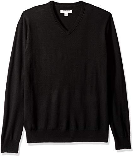 (Goodthreads Men's Merino Wool V-Neck Sweater, Black, X-Small)