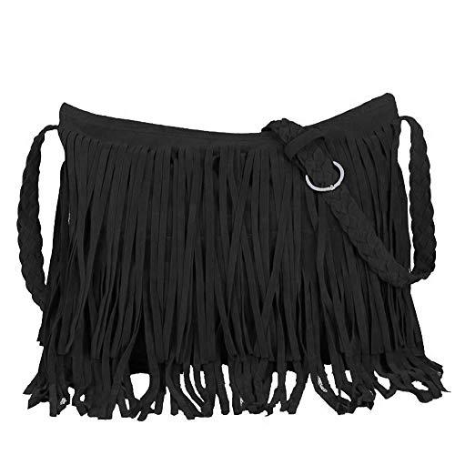 Eforbize Suede Fringe Tassel Messenger Bag Women Hobo Shoulder Bags Crossbody Handbag Black