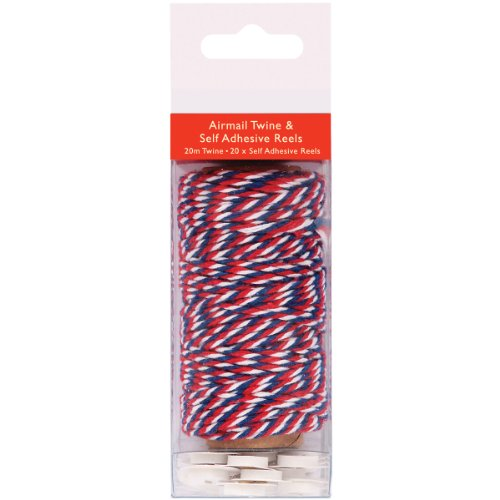 DOCrafts Papermania All Aboard Twine 20 Meters/20 Self-Adhesive Reels-Airmail - Red, White & Blue