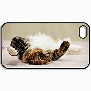 Customized Cellphone Case Back Cover For iPhone 4 4S, Protective Hardshell Case Personalized Cat Tabby Playful Lie Black
