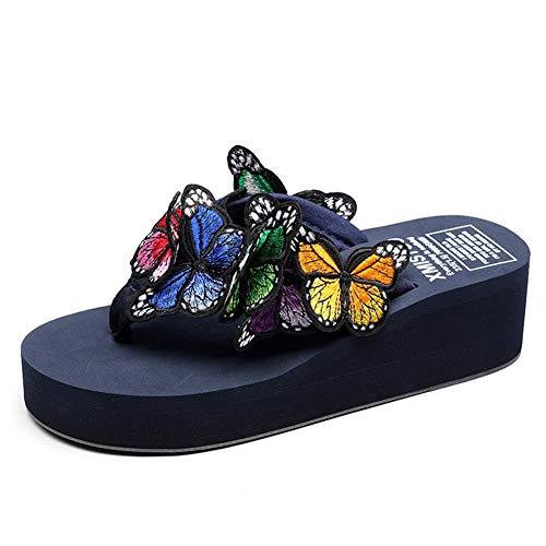 F-OXMY Women Fashion Butterfly Platform Wedge Flip Flops Summer Comfort Outdoor Anti-Slip Thong Sandals Navy Blue