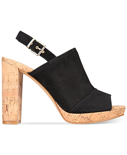 INC International Concepts Womens Tangia Leather Open Toe Ankle Strap Platfor. Black/Suede