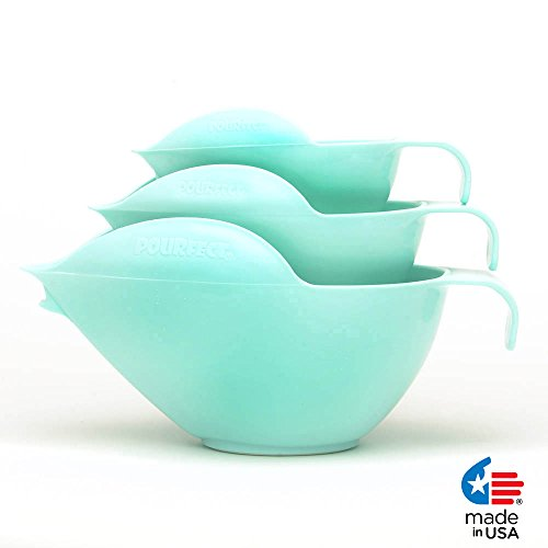 POURfect Mixing Bowls 1005, 3pc Prep Set,1-2-4 Cup, Ice Blue