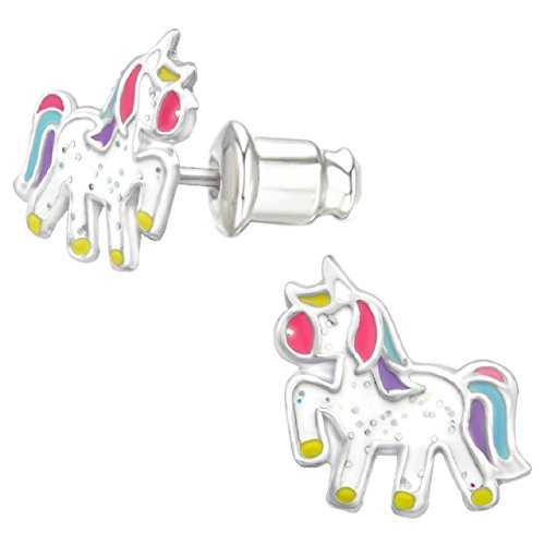 """Price comparison product image Pro Jewelry .925 Sterling Silver Children's """"Pretty Unicorn"""" Stud Earrings with Bullet Clutch Earring Backs"""