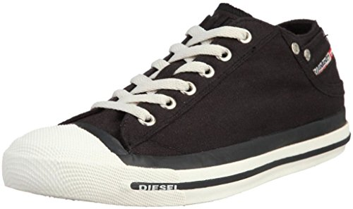- Diesel Exposure Low Black White Mens Canvas New Trainers Shoes-12.5