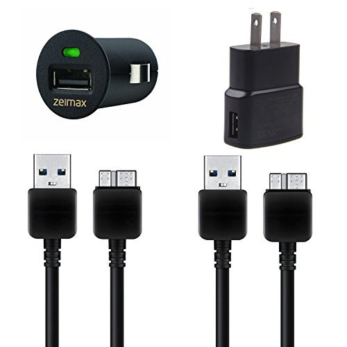 Zeimax-Samsung-Galaxy-Note-3-USB-30-Cable-Car-Wall-Charger-4-Pc-Set-Includes-2-3-Ft-Cable-1-Car-Charger-and-1-Wall-Charger-Black