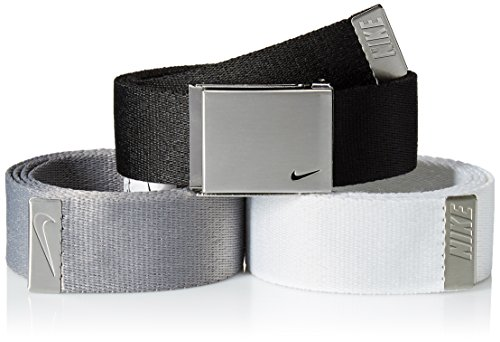 Nike Men's 3 Pack Golf Web Belt, black/White/Grey, One Size ()