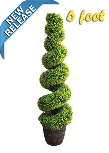 AMERIQUE Gorgeous 6 Feet Wide and Dense Boxwood Spiral Topiary Artificial Tree Silk Plant with UV Protection with Decorative Pot, Feel Real Technology, Super Quality, 6' Green