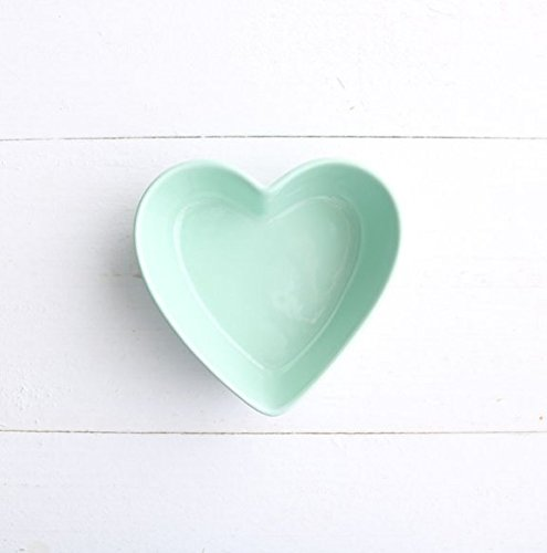 (Stock Show 1PC Lovely Heart Shape Ceramic Bowl Tableware, Macarons Color Procelain Kitchen/Restaurant/Caf¨¦ Shop Food Holder Container for Ice Cream/Fruit/Snack/Dessert(Green) )