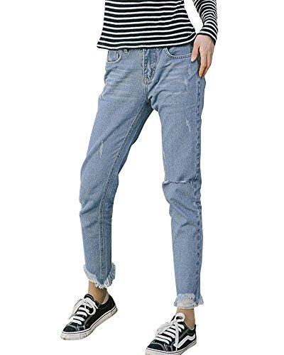 Pantalon Bleu En Trous Jeans Cheville Droit ZongSenA Pantalons Femme Clair Denim Dchirs SfqnOA