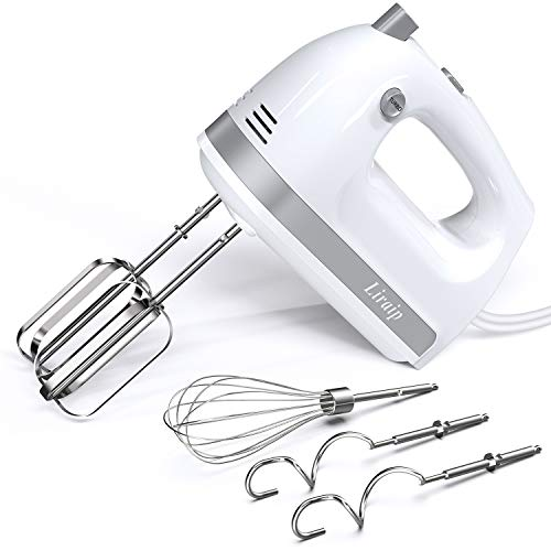 Liraip Hand Mixer Electric, 5 Speed 400W Turbo with 5 Stainless Steel Accessories for Easy Whipping, Mixing Cookies…