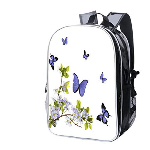 (High-end Custom Laptop Backpack-Leisure Travel Backpack Isolated Blue Cherry Blossom and Butterflies Water Resistant-Anti Theft - Durable -Ultralight- Classic-School-Black)