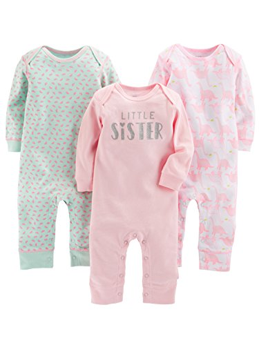 Simple Joys by Carter's Baby Girls' 3-Pack Jumpsuits, Pink, Mint, Dino, 0-3 Months