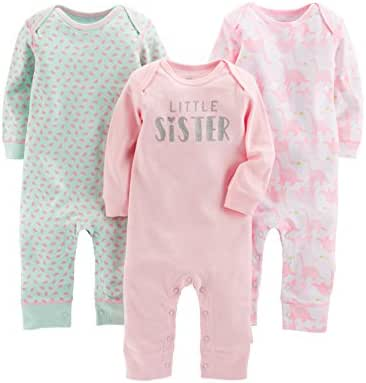 Simple Joys by Carter's Baby Girls' 3-Pack Jumpsuits