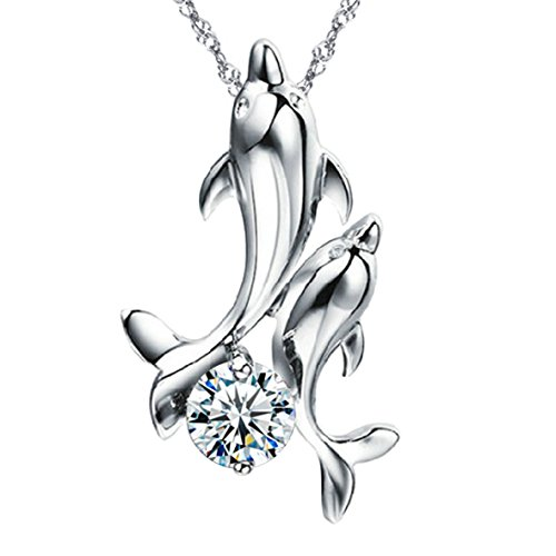 Pearl of Dream Dancing Dolphins Sterling Silver Pendant Necklace
