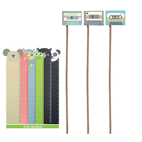 TEKEFT Magnetic Retro Classical Decorative Paper Clip Bookmark Set Creative Unique Bookmarks with Long Tail Ribbon label and Cute Mini ruler-bookmark School Home Office Supplies (5ps)