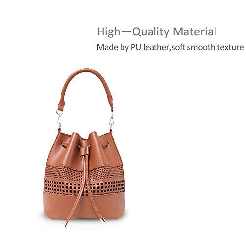 2PCS Tote Bag Leather NICOLE Handbag Bag PU Red Bucket amp;DORIS Women Messenger Khaki Fashion Bag Shoulder xPOwxX