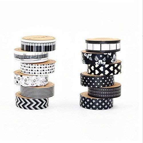 12 rolls cinta washi - negro y blanco - 120m en total